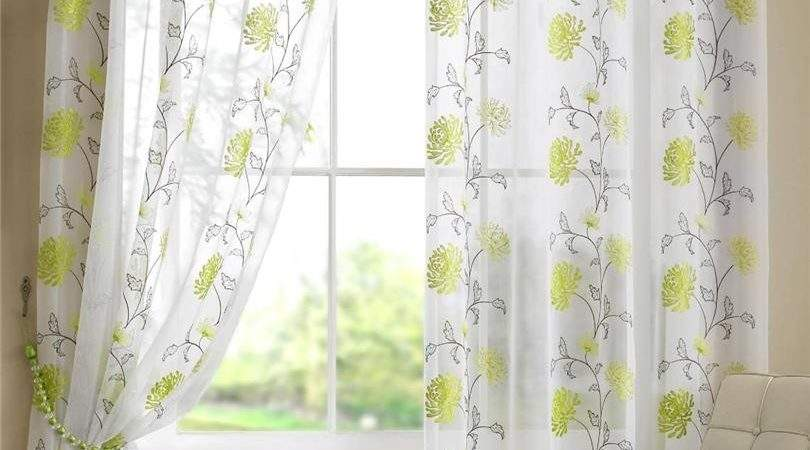 Abbie Modern Floral Voile Curtain Panel Available