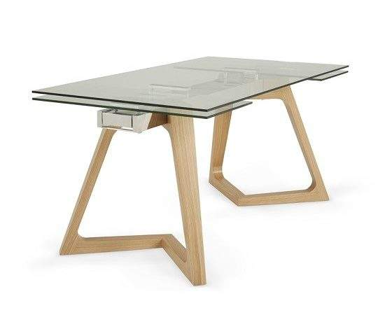 Abena Extendable Glass Dining Table Clear Oak Legs