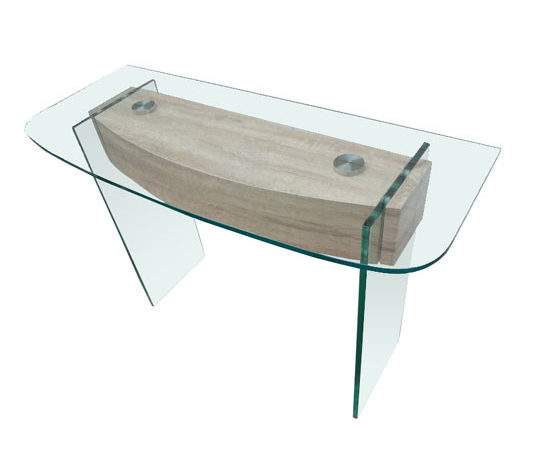 Alpha Clear Glass Console Table Oak Effect Mysmallspace