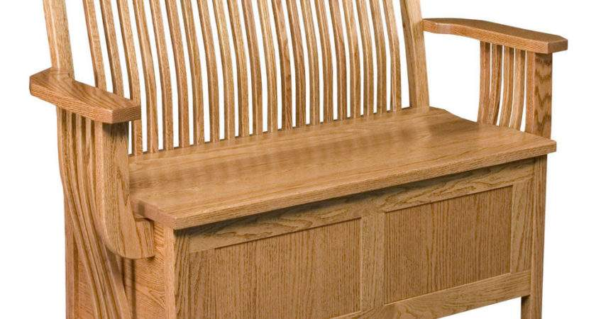 Amish Oak Bench Wooden Wood Benches Storage Seat Ebay