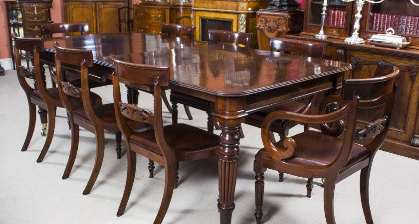 Antique Regency Mahogany Dining Table Chairs