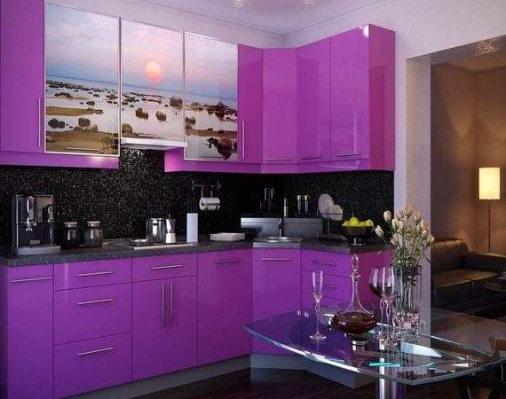 Apartment Kitchen Appliances Purple Tile
