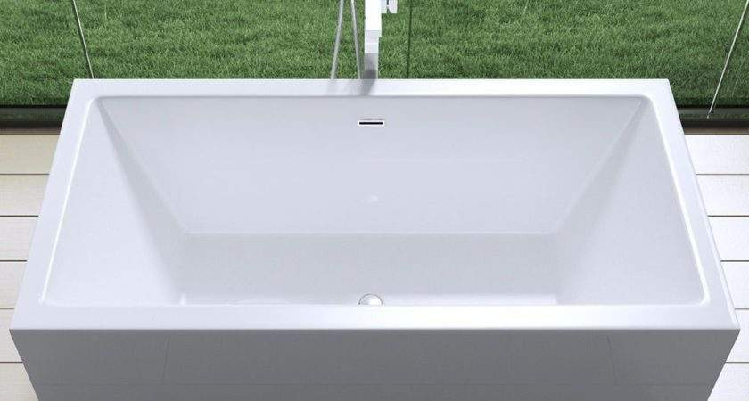 Aquasoak Square Double Ended Freestanding Bath Tub Acrylic