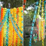 Backyard Colorful Paper Chain Wedding Leslie Nolan
