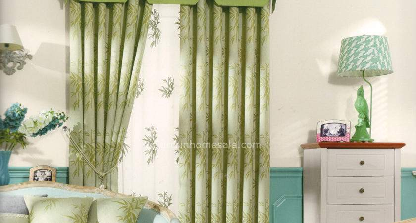 Bamboo Pattern Light Green Thermal Curtain Valance