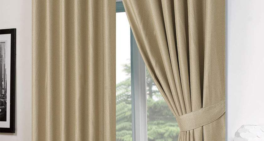 Basket Weave Pair Thermal Curtains Ready Made Eyelet