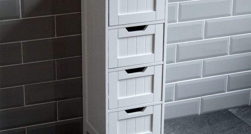 Bathroom Drawer Cabinet Storage Cupboard Wooden White