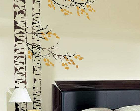 Beautiful Birches Wall Stencil Reusable Large Tree