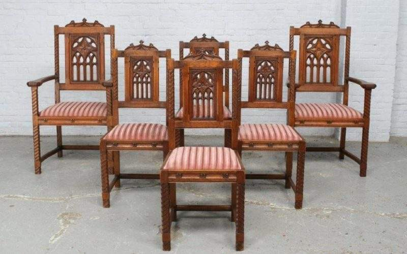 Beautiful French Carved Oak Gothic Antique Dining Room