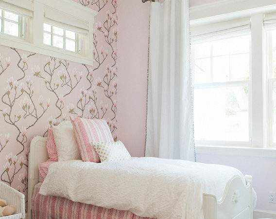 Beautiful Girls Bedroom Features Cole Son Magnolia Pink