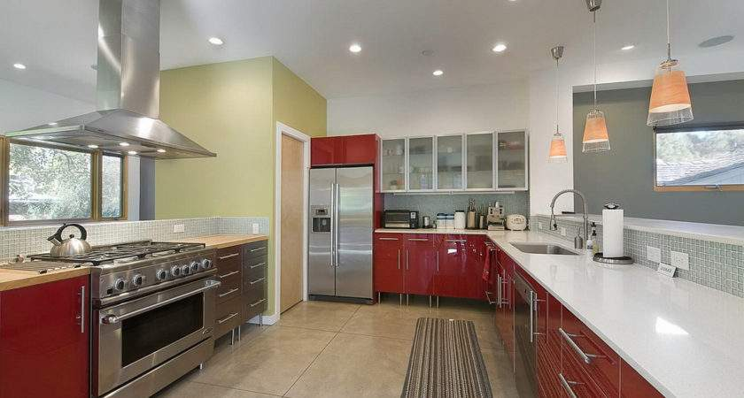 Beautiful Kitchen Design Idea Feat Red Accents Vanity