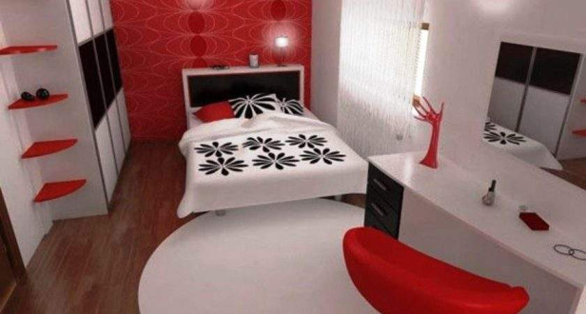 Bedroom Adorable Red Chair Decoration