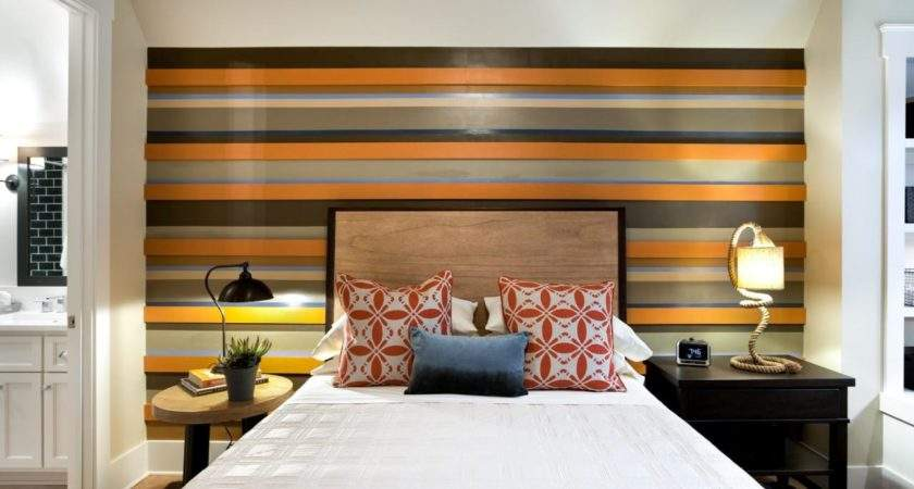 Bedroom Artsy Striped Accent Wall Ideas Vertical