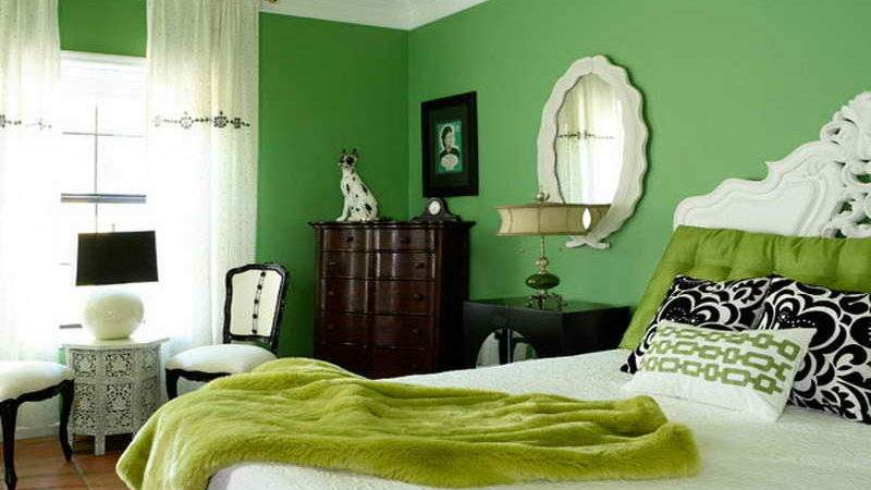 Bedroom Bright Green Wall Color Ideas