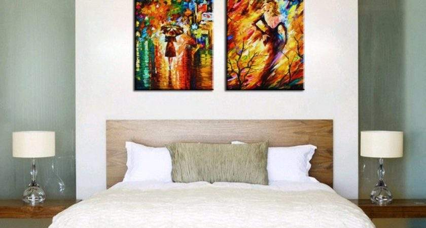 Bedroom Decorated Knife Paint Landscape Abstract Modern