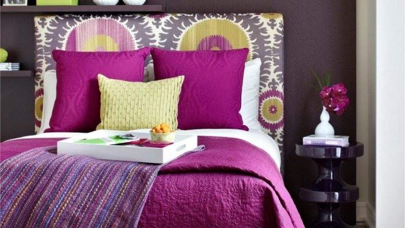 Bedroom Enchanting Purple Brown Decorating