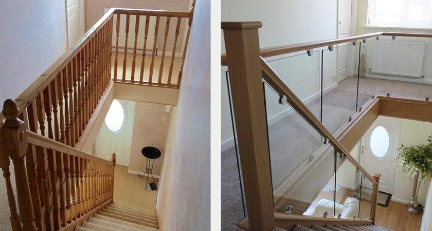 Before After Glass Wood Staircase Renovations