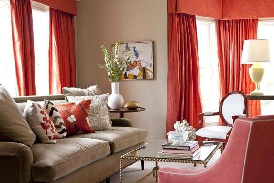 Beige Coral Red Living Room Curtains
