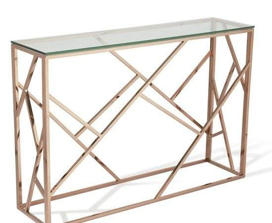Betty Glass Console Table Clear Rose Gold Base