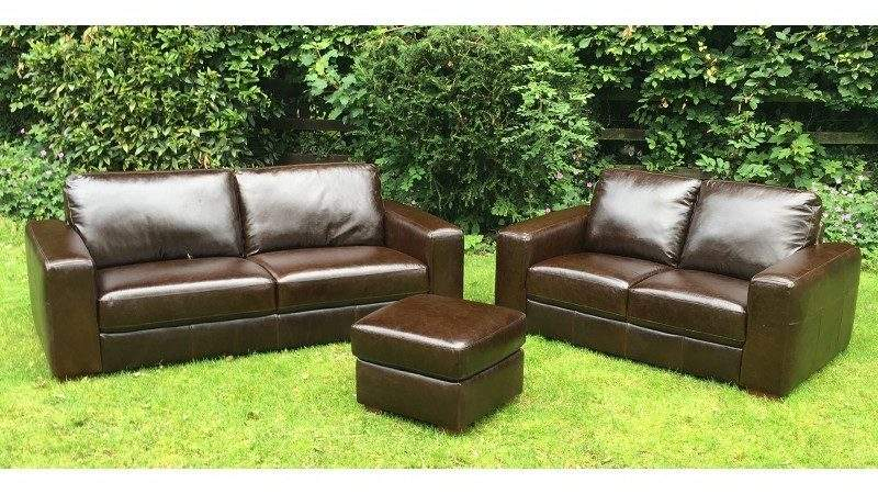Bhs Brown Leather Seater Sofa Ottoman
