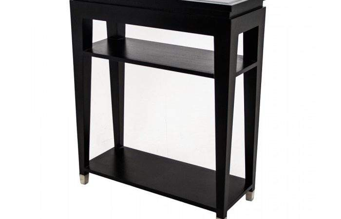Black Console Table Small Glass Hallway Buy
