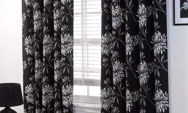 Black Floral Print Fully Lined Quality Curtains Sizes