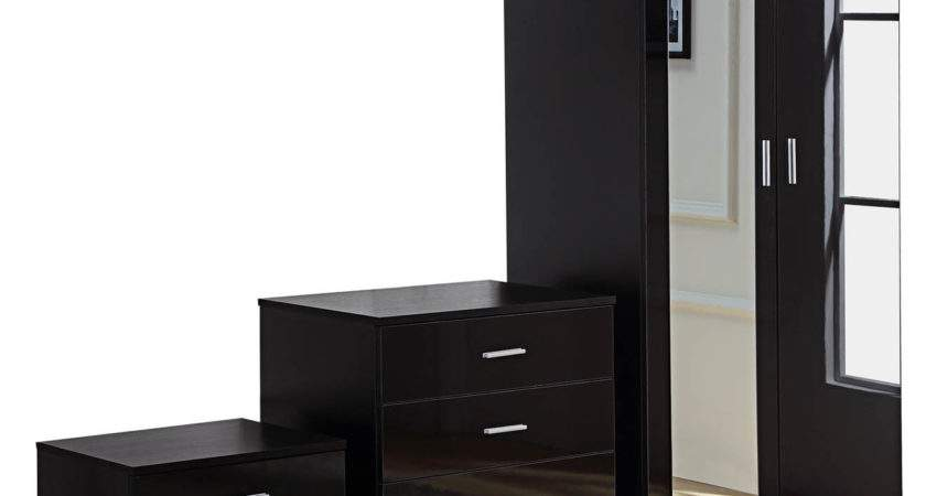 Black Mirrored High Gloss Piece Bedroom Furniture Set