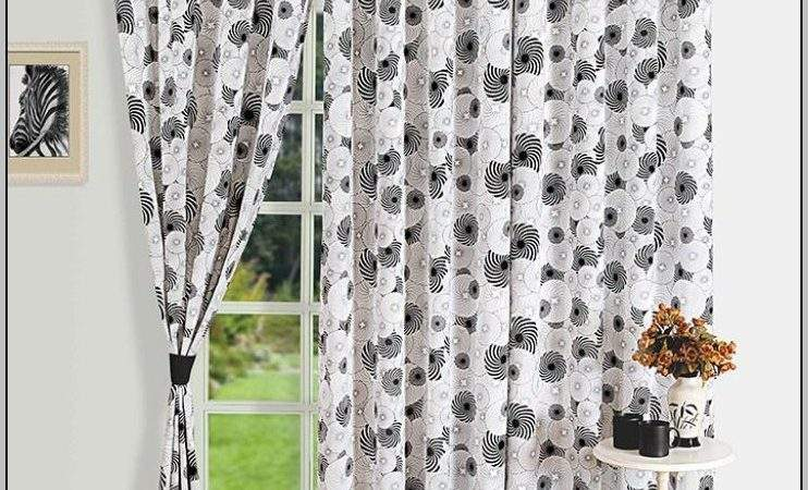 Black White Floral Eyelet Curtains Home