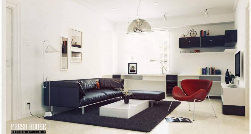 Black White Living Room Red Accents Interior Design Ideas