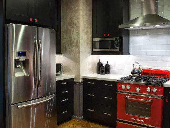 Black White Red Kitchen Eclectic