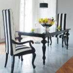 Black White Striped Dining Chair Room