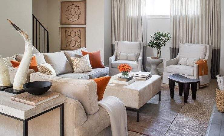 Blue Orange Living Room Accents Contemporary