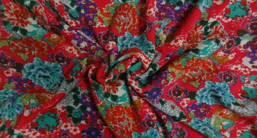 Botanical Floral Print Fabric Cotton One Yard Indianstores