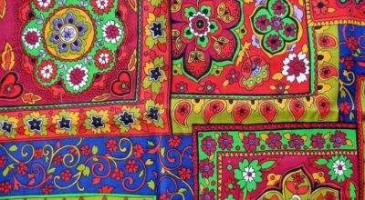 Bright Moroccan Middle Eastern Style Fabric Destash