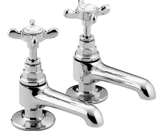 Bristan Traditional Basin Pillar Taps Chrome Plated
