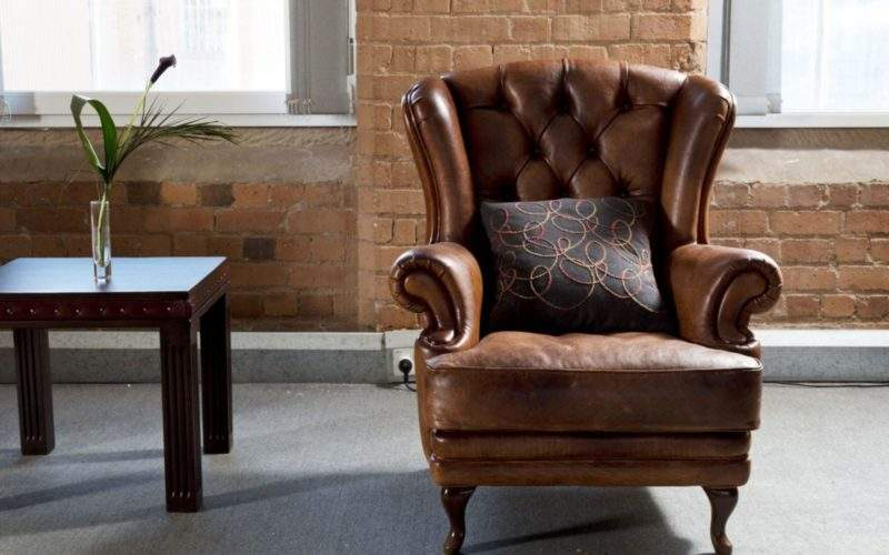 Brown Leather Armchair Vintage Traditional Living Room