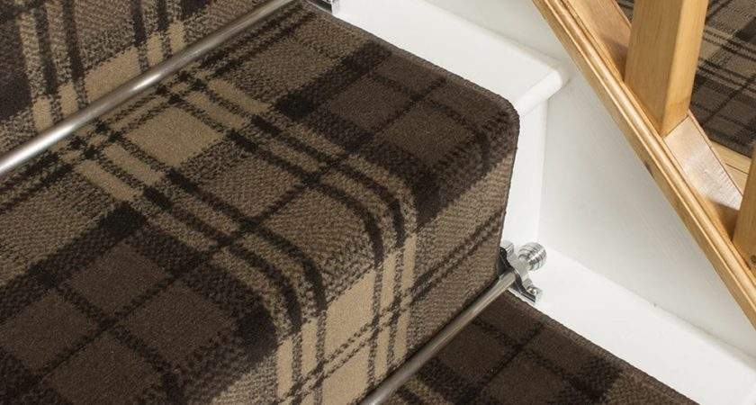 Brown Stair Runner Rug Tartan Carpet Noir