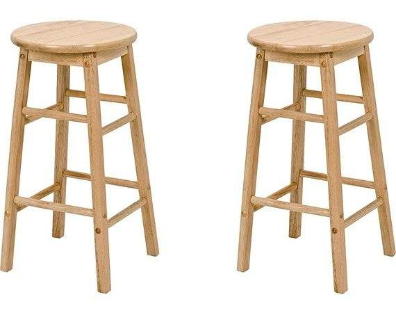 Buy Simple Value Pair Natural Wooden Kitchen Stools