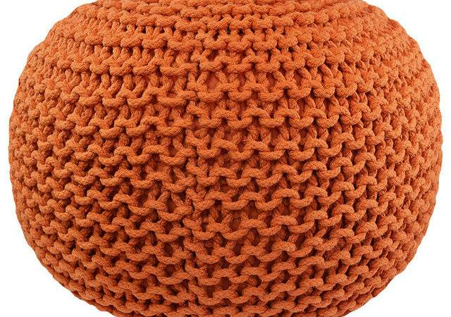 Cable Knit Pouf Round Orange Contemporary Floor