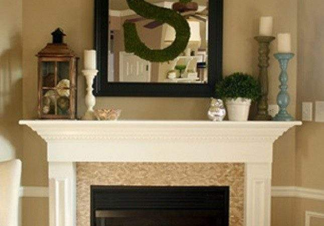 Candles Potted Plant Lantern Framed Mirror Hanging