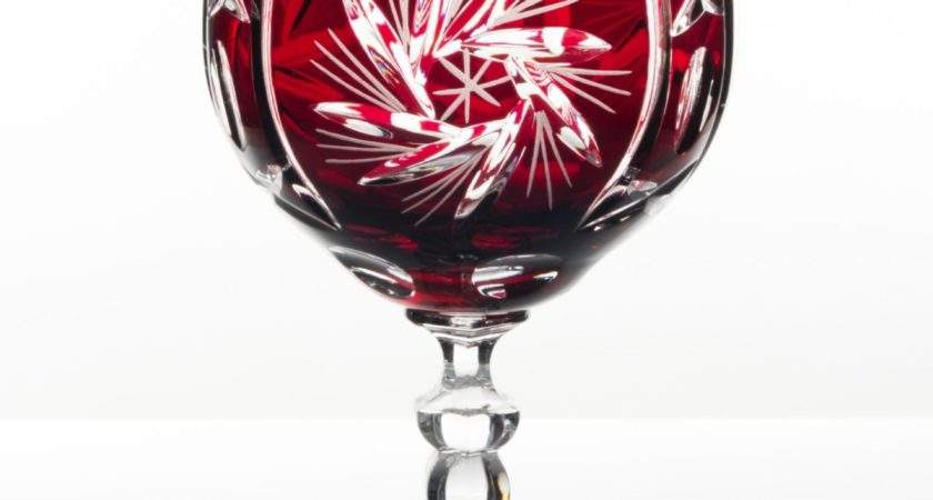 Cardinal Lead Crystal Red Colour Wine Glasses Set