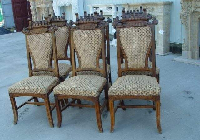 Carved Gothic Walnut Dining Room Chairs Cns