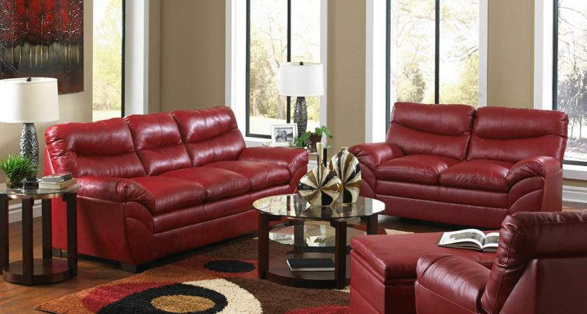 Casual Contemporary Red Bonded Leather Sofa Set Living