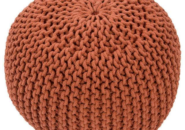 Celeste Knitted Pouf Orange Contemporary Footstools