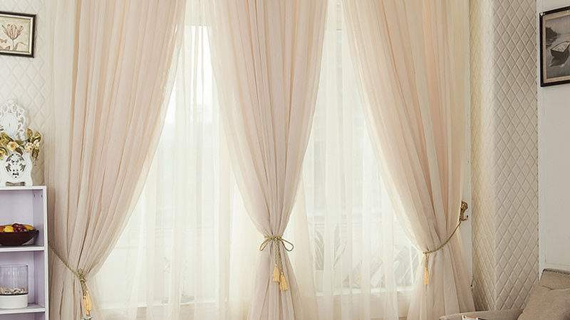 Champagne Color Pinch Pleated Drapes Rod Pocket Voile