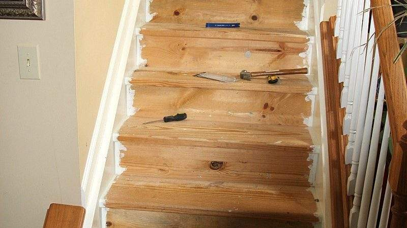 Change Carpeted Stairs Hardwood Home Honoroak
