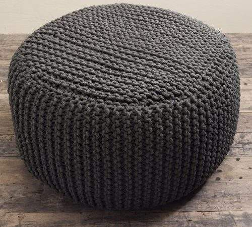 Charcoal Beanbag Large Knit Chunky Knitted Pouffe Pouf