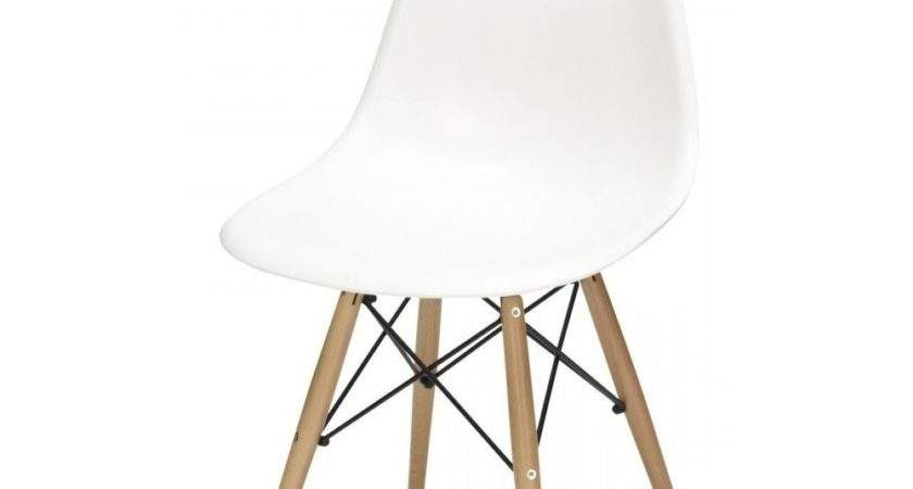 Charles Eames Style Cool White Plastic Retro Side Chair