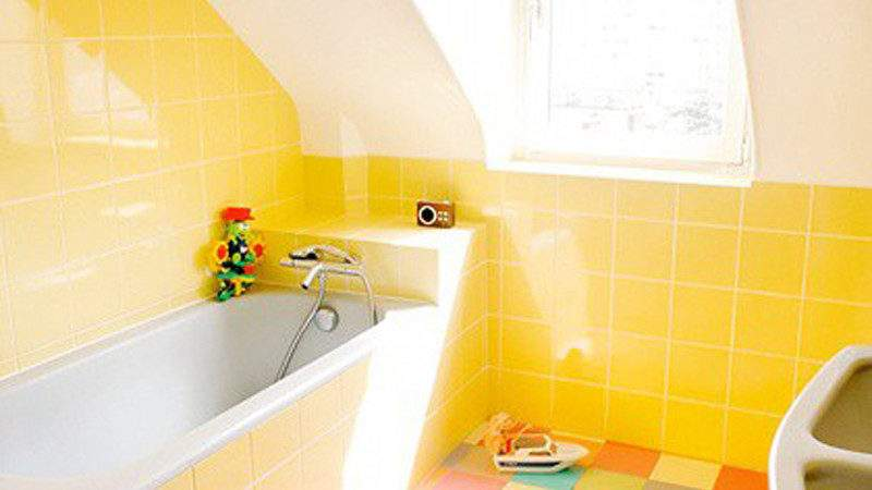 Charming Yellow Bathroom Decor Combined Colorful