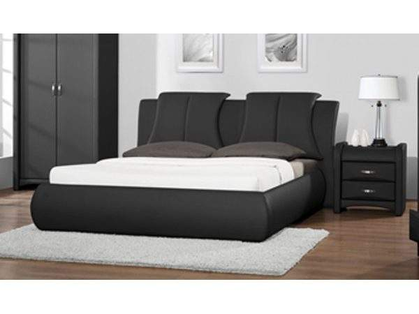 Cheap Azure Black Faux Leather Bed Frame Sale
